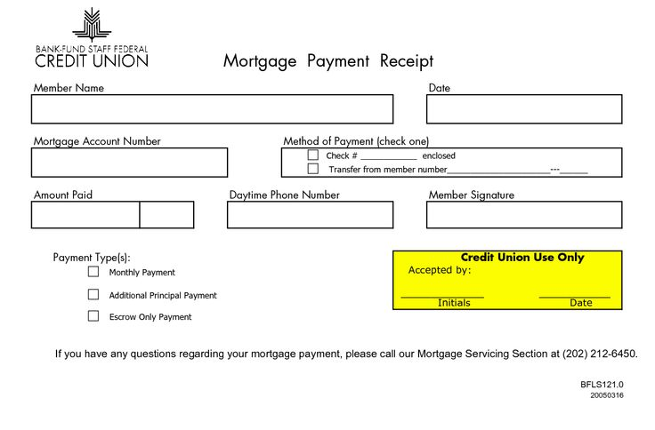 MONTHLY MORTGAGE RECEIPTS Mortgage Payment Receipt Member Name - examples of receipts for payment
