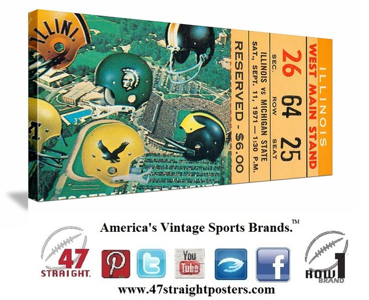 Michigan State Spartans football ticket art on canvas made from an authentic 1971 Michigan State football ticket. #MichiganState #Spartans #Big10 #collegefootball #gameroom #art https://twitter.com/47_Straight Come follow us on Twitter! #47straight #row1brand