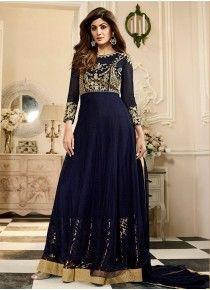 Shilpa Shetty Embroidered Work Floor Length Anarkali Suit