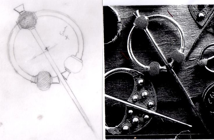 My design work and the original Viking penannular brooch it is based on.   National Museum of Ireland.