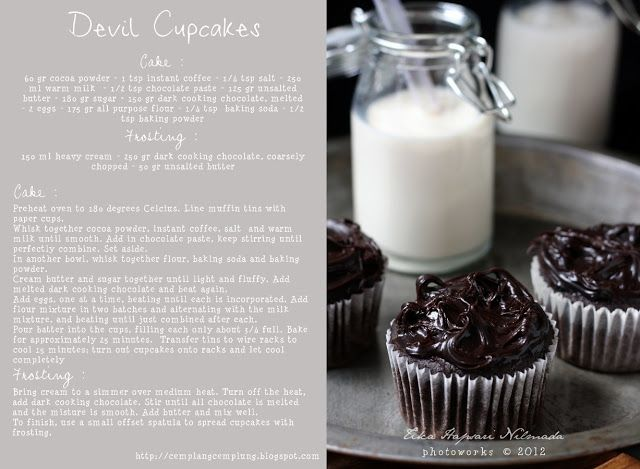 Chocolate to try : Chocolate Devil's cupcakes