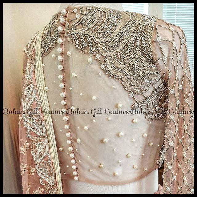 Details on my wedding reception lehnga.This is the back of my blouse adorned with beautiful pearls...
