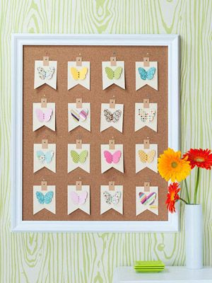 Butterfly Bulletin Board  Die-cut tags from ivory paper or  use shipping tags from an office supply store.  Select a variety of patterned papers in a coordinating color scheme, and die-cut or punch two butterflies from each.........more
