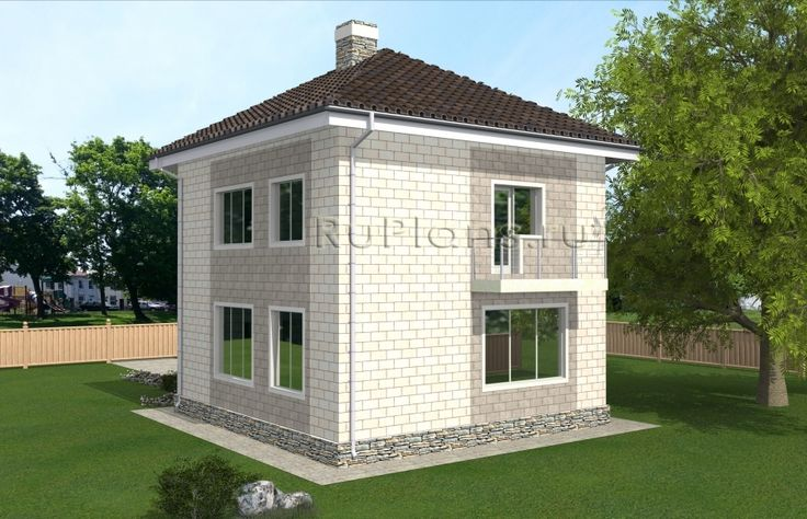 Проект индивидуального двухэтажного жилого дома с размерами здания 8,45 x 8,10 м. Фундамент – ленточный монолитный ж/б. Наружные стены – теплоблок. Внутренние стены - газобетонный блок. Перегородки – газобетонный блок. Пол 1 этажа - пол по грунту, межэтажное перекрытие - сборные ж/б плиты, чердачное перекрытие - деревянные балки. Крыша четырехскатная. Кровля – металлочерепица. Окна — металлопластиковые.