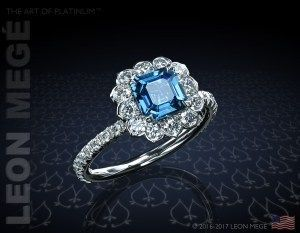 Lotus diamond micro pave halo engagement ring by Leon Mege