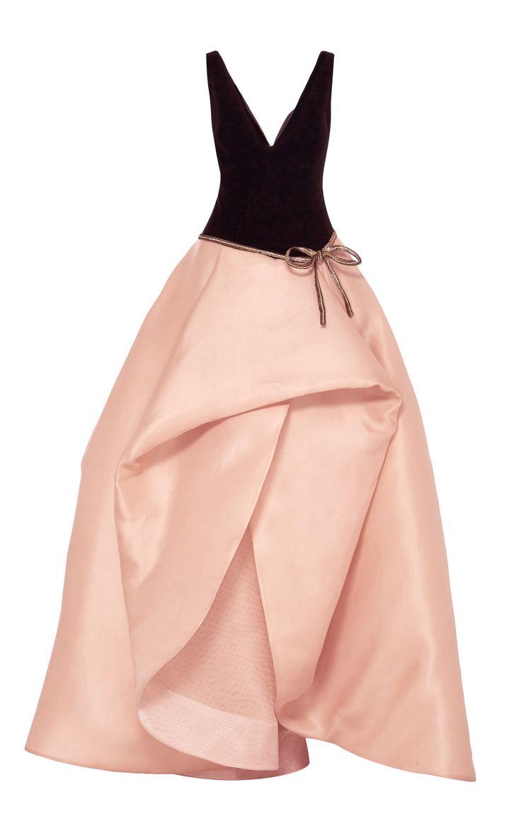 Monique Lhuillier Sleeveless V-Neck Ball Gown
