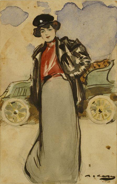 Una automobilista (Ramon Casas y Carbó - )