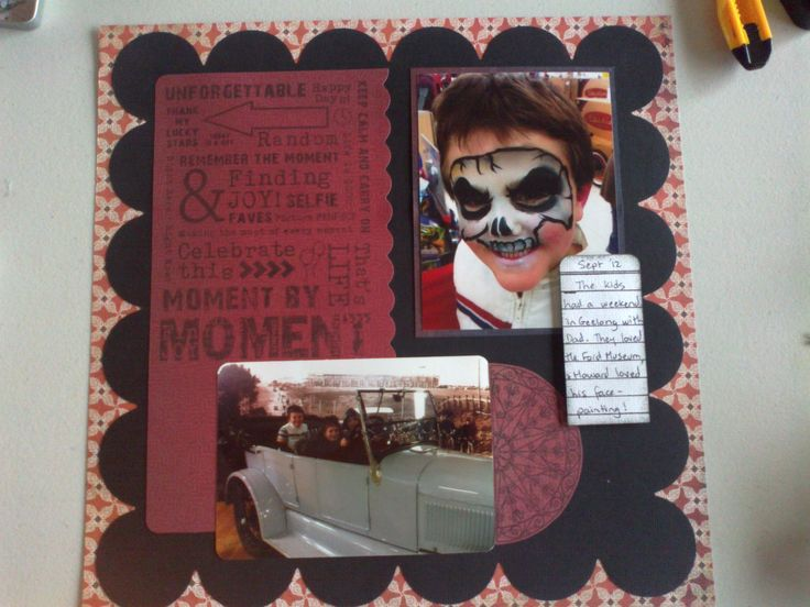 Layout with Kaszazz Moment by Moment background stamp.