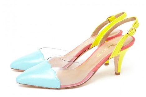CLEO B 'Ringo' multi-coloured low-heeled sandal. #sea #monsters #summer #shoe #collection #colour #heel #sandal #beatles #inspiration #blue #yellow #pink #leather #fashion #style #designer #london #ringo