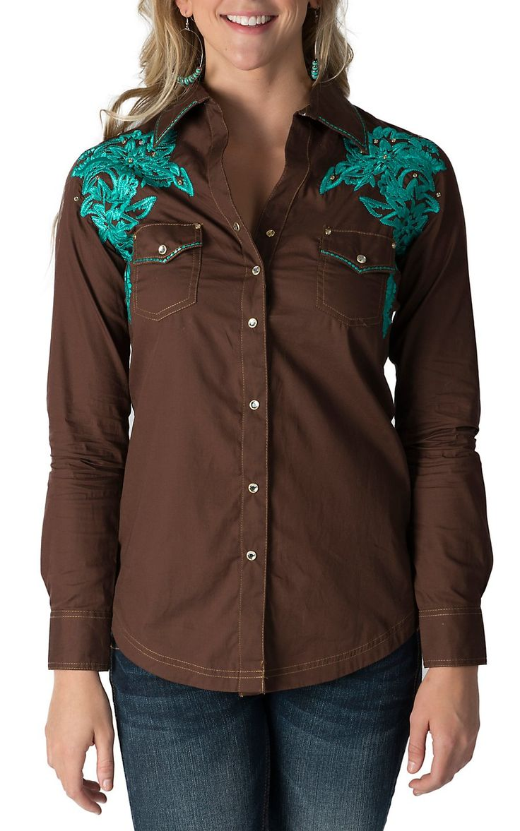 Rock 47 by Wrangler Women's Brown with Turquoise Embroidered Shoulders Long Sleeve Western Shirt