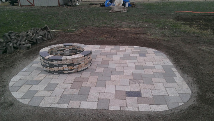 recycled granite patio with a round fire pit recycled granite paver patios pinterest round fire pit granite and patios - Round Fire Pit