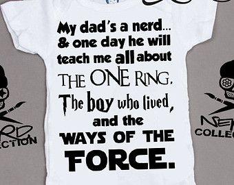 Baby Onesie Nerd Geek Dad Teach Me Harry Potter Lord of The Rings Star Wars Baby Shower Gift Nursery Funny Custom Clothing Infant Gerber