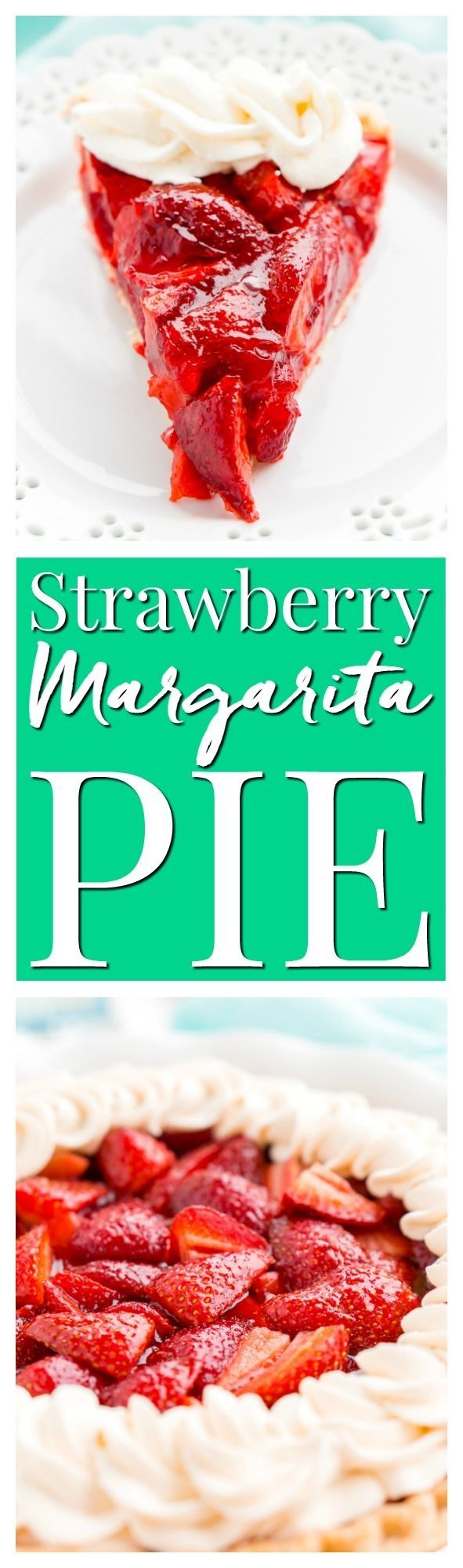 This Fresh Strawberry Margarita Pie is made with fresh, ripe strawberries, smooth Altos Tequila, and a few other simple ingredients for a boozy summertime dessert! via @sugarandsoulco