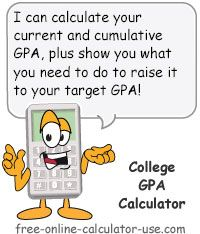 College GPA Calculator:  This free online calculator will help you to track your present GPA as well as set and meet goals for future grading periods (semesters or quarters). Specifically, this calculator creates individual GPA calculators for any number of grading periods you choose. Plus, the calculator even allows you to track your major GPA separately from your overall GPA, and has a built-in feature that tells you how many credits you need at 4.0 to raise your GPA to a desired level.