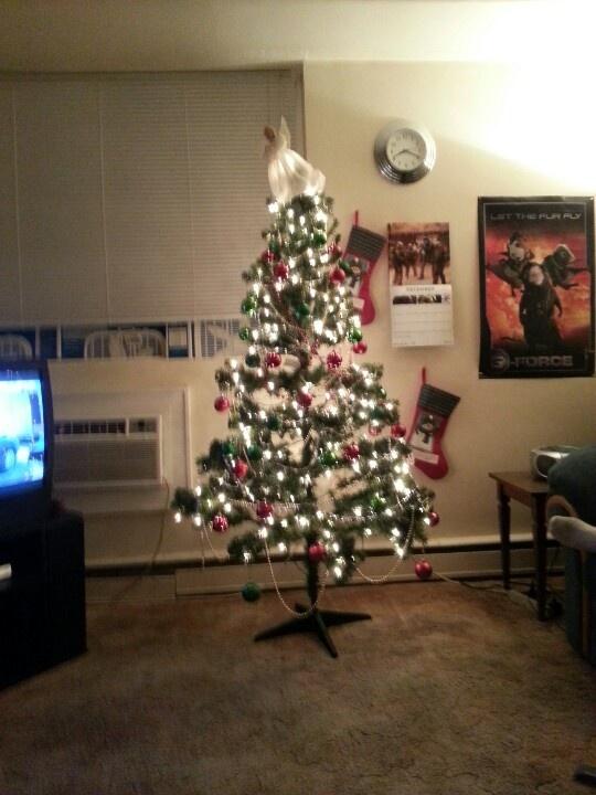 Tree with stockings.