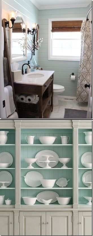 """Benjamin Moore's Palladian Blue is a good example of a color that really shifts according to the space.  (Top) shows how gray toned it can look.  It's calm and serene, yet sophisticated. Then, here (below) it appears fresh, much more green and it can go """"little boy's room"""" fast."""