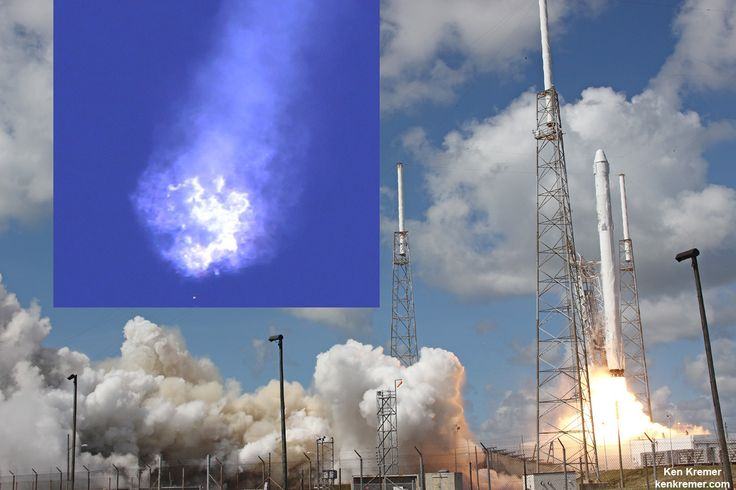 The SpaceX Falcon 9 rocket and Dragon cargo spaceship dazzled in the moments after liftoff from Cape Canaveral, Florida, on June 28, 2015 but were soon doomed to a sudden catastrophic destruction barely two minutes later in the inset photo (left)