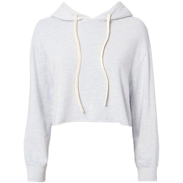 Monrow Women's Pullover Crop Hoodie found on Polyvore featuring tops, hoodies, sweaters, jackets, shirts, light blue, cropped tops, cropped hoodies, sweatshirt hoodies and white hoodie