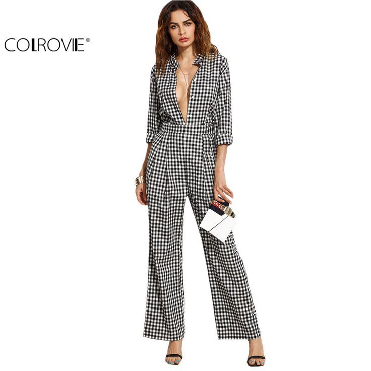 COLROVIE 2016 New Arrival Female Black Gingham Band Collar Deep V Neck Long Sleeve Plaid Sexy Work Wear Jumpsuit