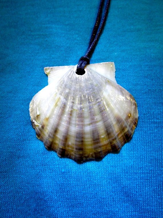 Real handmade scallop seashell pendant with rich earthy tones.