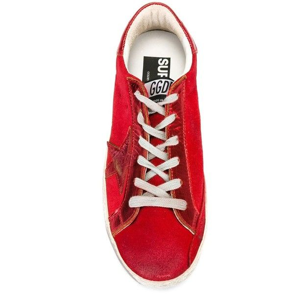 Golden Goose Deluxe Brand 'Superstar' sneakers ($480) ❤ liked on Polyvore featuring shoes, sneakers, red trainers, star sneakers, flat sneakers, flat shoes and lace up shoes
