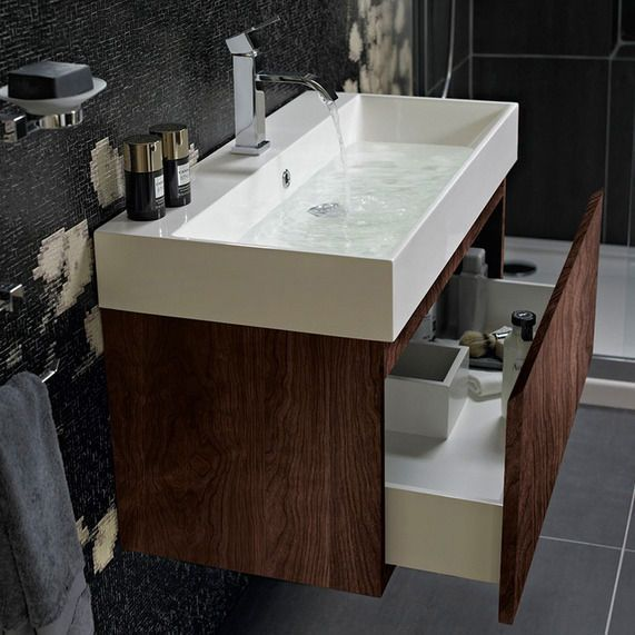 Mino 600 and drawer unit basin walnut bathstore 149 - Small bathroom cabinet with drawers ...