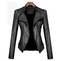 Wish | GX-tw-1213-80 Leather Jackets Womens Slim Black Biker Motorcycle PU Jacket Female Lapel Leather Jacket Zipper Coat