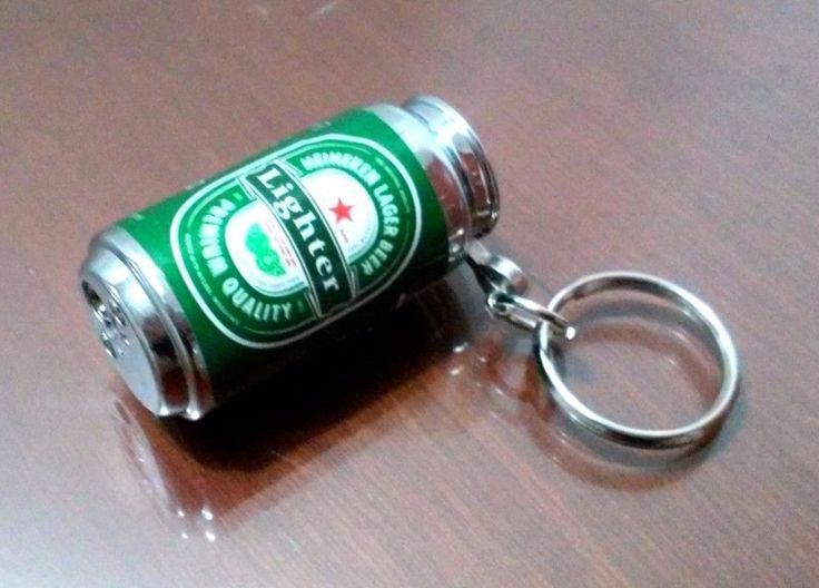 Collectible Keychain Lighter Heineken Beer Company Electric Refillable Green
