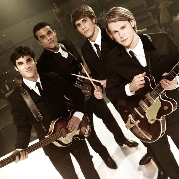 "the ""beatles"" glee style! left to right: blaine anderson, jake puckerman, ryder lynn, sam evans!"
