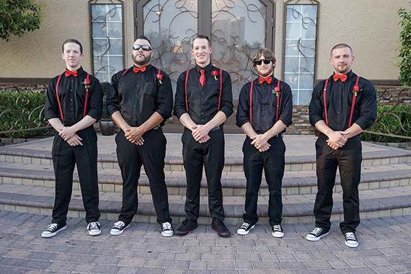 Rock n Roll wedding | punk rock groomsmen at Rockabilly wedding. Great idea for casual and fun wedding.