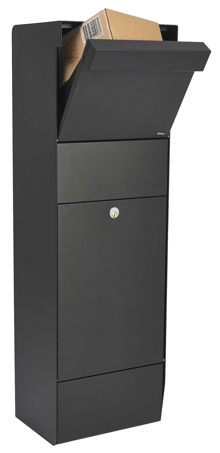 "Qualarc ALX-GRP-BK Allux Series Grandform Locking Mail & Parcel Box, Black - Security Mailboxes - Amazon.com The QualArc Allux Grandform Mail Parcel Box features an extra-large parcel opening (11-7/8"" x 5-3/8"" x 14-1/2"") for large deliver Made from strong galvanized steel it has a tough black powder coat finish Fitted with a heavy duty cam lock Made in England Dimensions: 43.5"" H 13.5"" W 11"" D Weighs 37 lbs The mailbox has a hopper mechanism like what is found inside usps boxes. The hopper…"