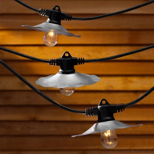 String Lights With Metal Shades : String Lights with Galvanized Shades and 7 Light Bulbs - 35FT Long Party lighting