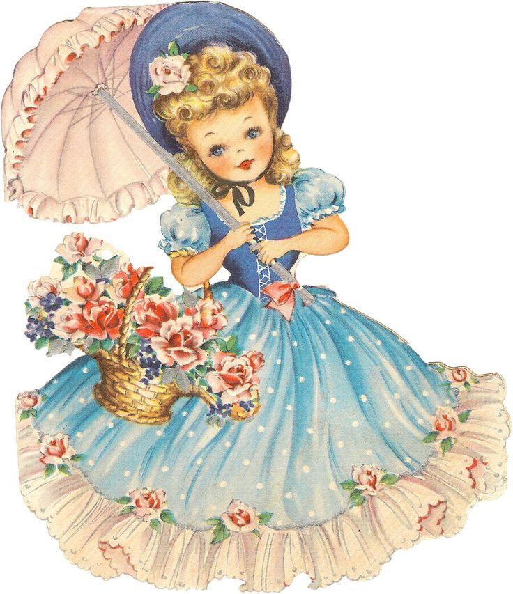 free download vintage art | Free Retro Image - Sweet Umbrella Gal