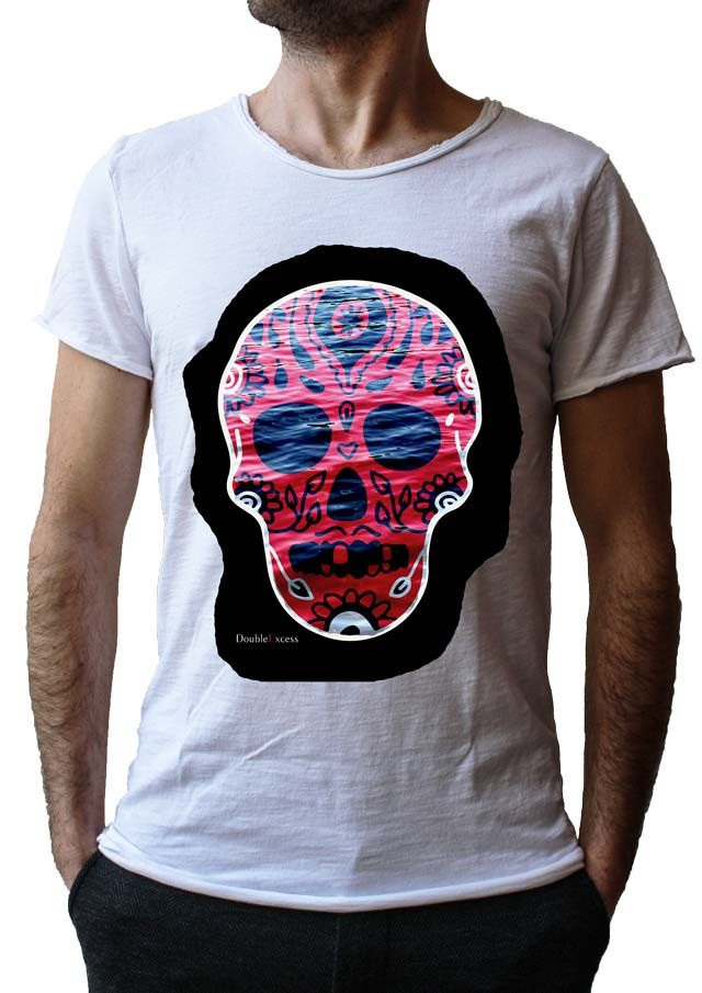 Men's T-Shirt BLACK WATER SKULL - Made in Italy - 100% Cotton - SKULL COLLECTION http://www.doubleexcess.com/