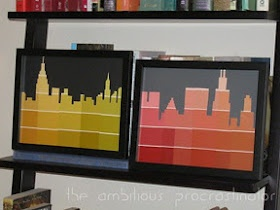 Skyline silhouette from paint sample strips. Cool!