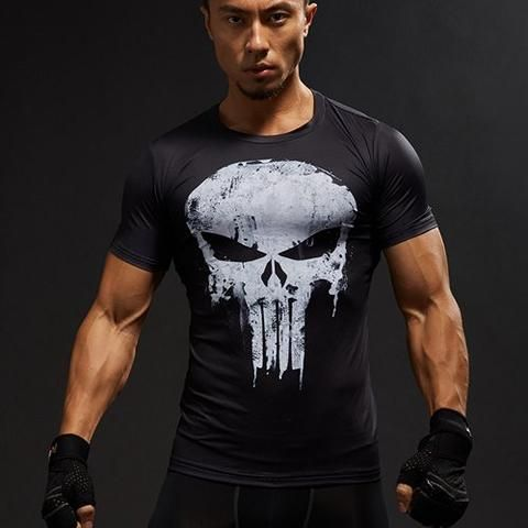 3D Printed Compression Short Sleeve Men's Tops & Tees