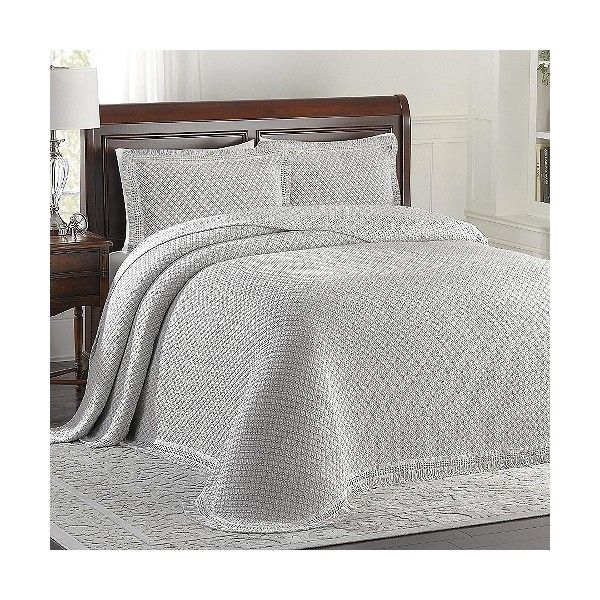 LaMont Home Woven Jacquard Bedspread - Gray/White ($130) ❤ liked on Polyvore featuring home, bed & bath, bedding, bedspreads, grey bedspread, white bed linens, grey white bedding, white bedspread y gray bedspread