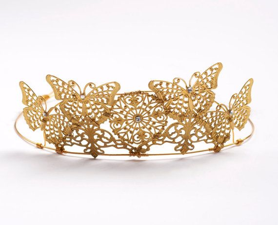 Papillon  Golden Butterfly Bridal Wedding Tiara by FlorioDesigns,
