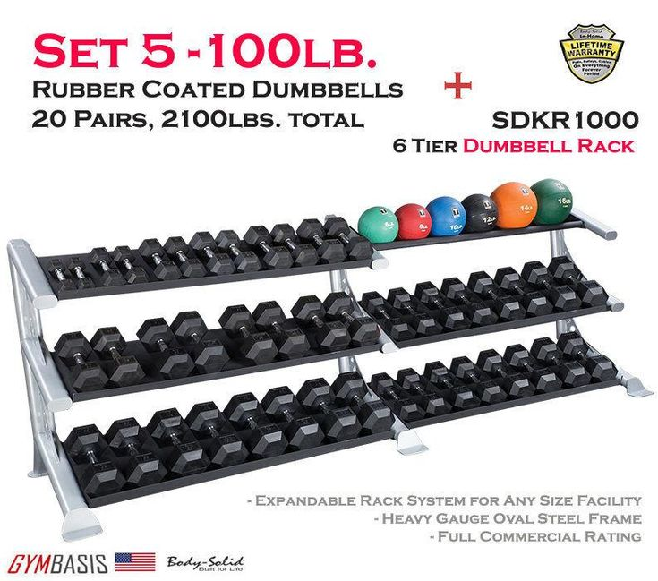 Body-Solid Set 5-70lb. Rubber Dumbbell 14 Pairs -1050 lbs total & SDKR1000 Rack