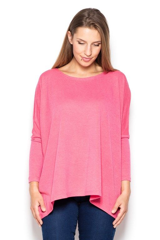 Różowy asymetryczny sweter