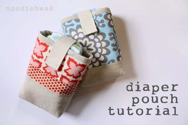 Diaper pouch tutorial by Noodlehead...great tutorial and a fun, easy project even for a beginner.