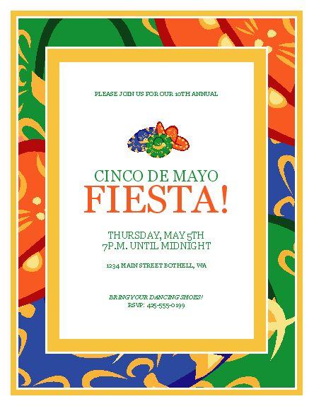 Cinco De Mayo Party Flyer | drink mex | Pinterest