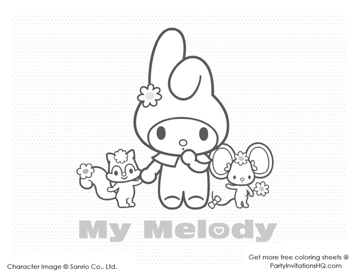 Hello Kitty Melody Coloring Pages : Best images about hello kitty and friends party on