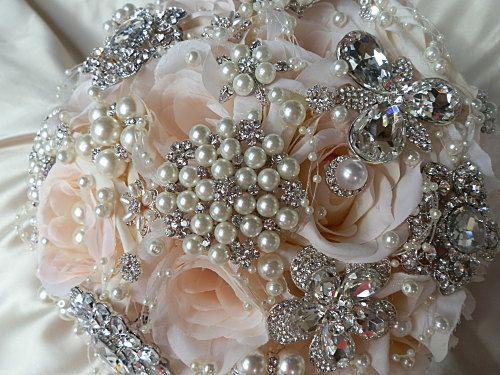 BROCHE rosa BOUQUET Bouquet de bodas encargo de rosa y plata