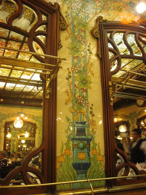 Hector Art Nouveau interior | Art Nouveau Tiles - Montparnasse 1900 Restaurant Architectural tiling - gorgeous!