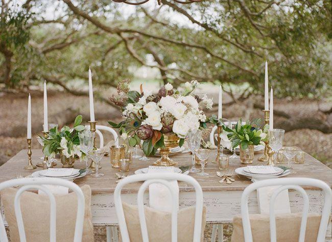 Sparkly Vintage Engagement Party with artichoke centerpiece