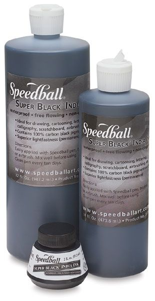 Speedball India Ink should not be confused for Speedball Acrylic ink. The acrylic ink is too gloopy. I'm not a fan. The India ink, however, is a great loose ink for practice and final work. It dries quickly with a completely flat finish with slightly raised texture. Great for both large and small nibs. It has a very readable hairline for photo and scan work.