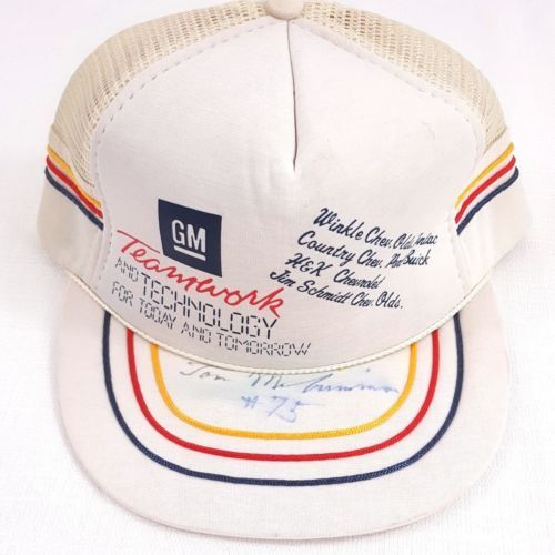 GM Teamwork Vintage Snapback Truckers Hat Cap White Hat One Size Mesh  Autograph  aacb218d1132