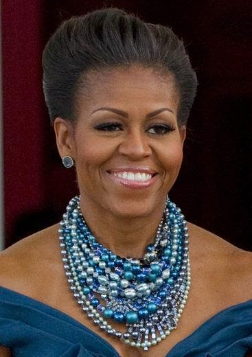 Layered necklace style worn by First Lady Michelle Obama.  Very regal