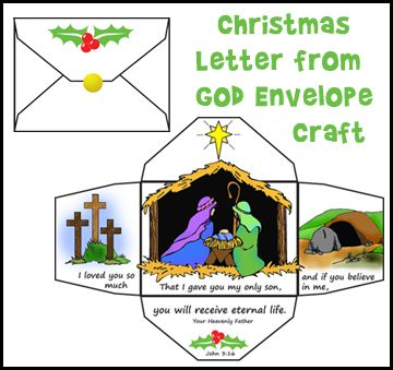 Christmas letter from God Envelope Craft for Sunday School from www.daniellesplace.com